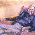 Dad in Armchair, Oil on Paper, 1990