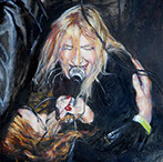 Pharmakon and me, Oil on Board, 2015; painting of my daughter Margaret Chardiet performing as Pharmakon